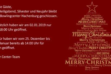 Heiligabend, Silvester und Neujahr geschlossen!